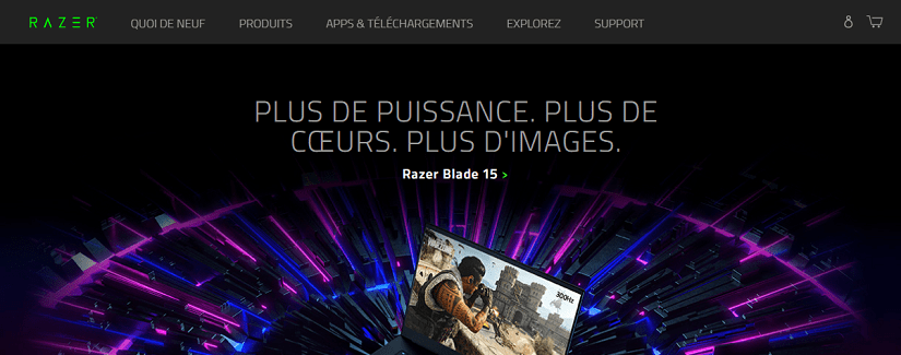 capture ecran du site Razer