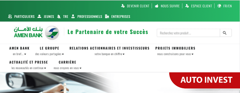Capture du site d'Amen Bank