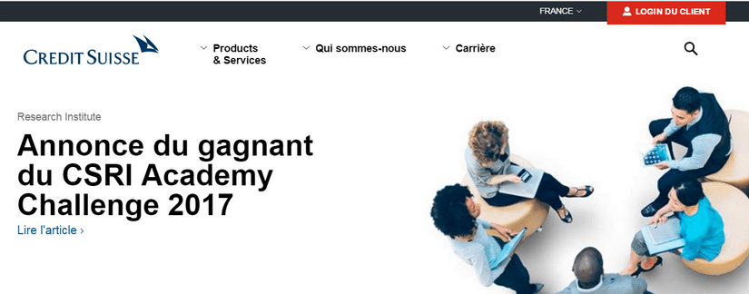 Capture du site Credit Suisse