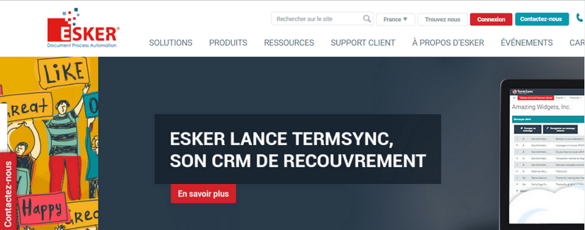 Capture du site Esker