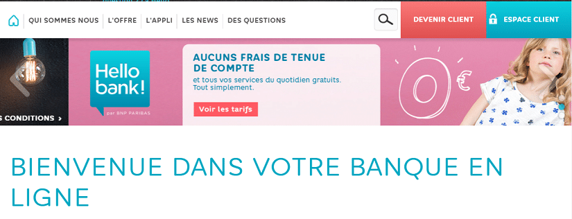 Capture du site d'Hello bank!