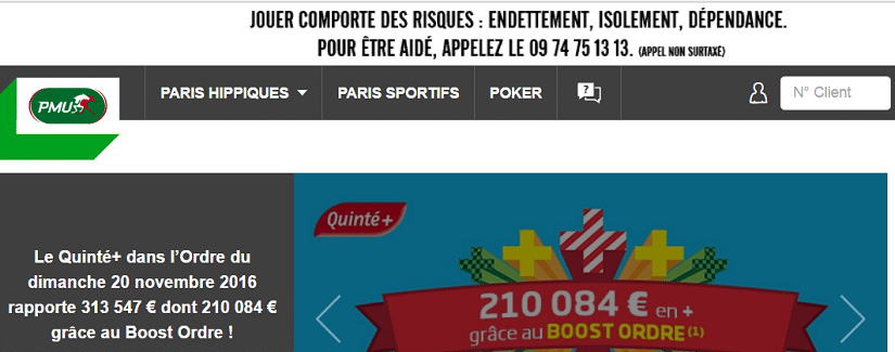 capture du site de PMU