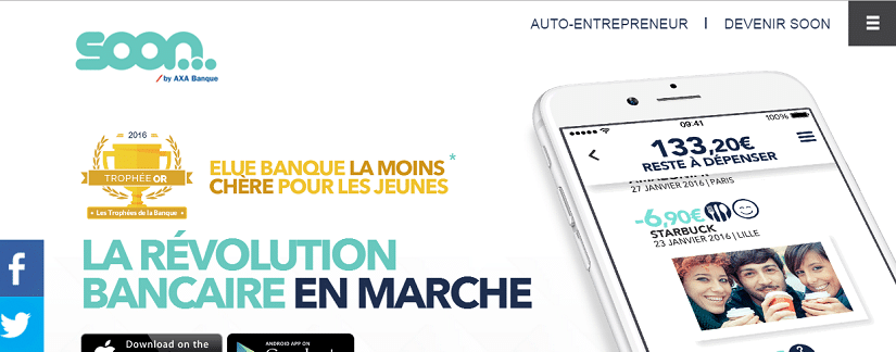 Capture du site Soon d'Axa banque