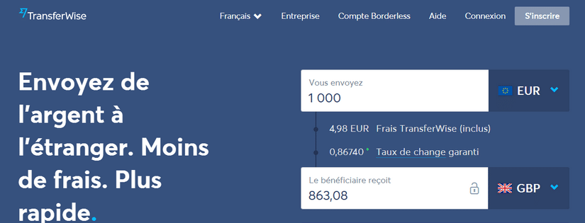 Capture du site de la start-up Transferwise