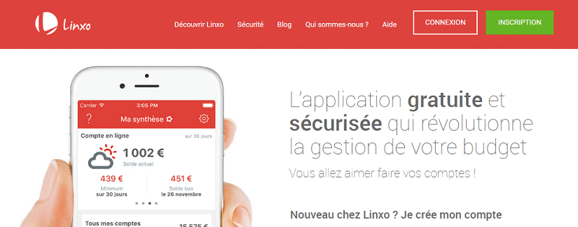 Capture du site Linxo