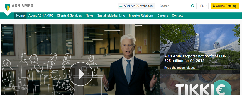 capture ecran du site ABN Amro