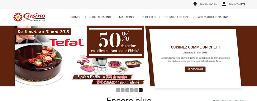 capture écran du site Casino