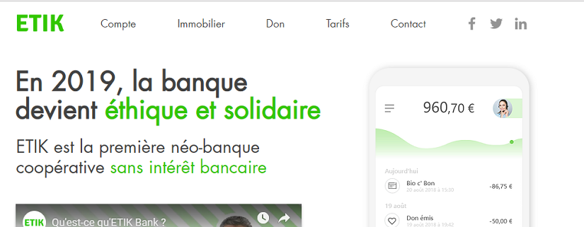 capture ecran du site d'ETIK Bank