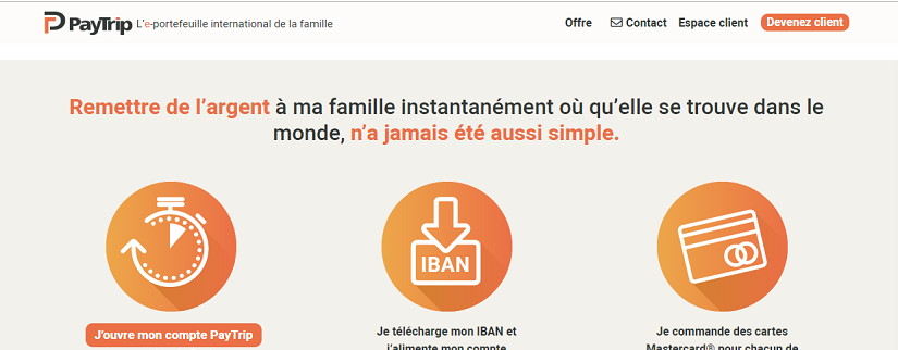 capture ecran du site PayTrip