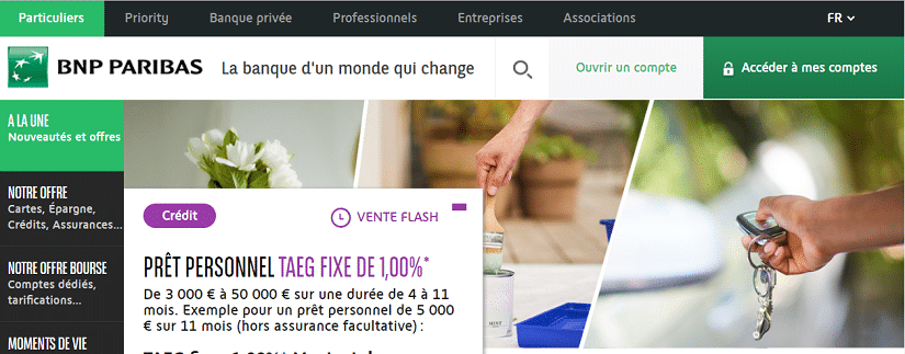 Capture du site de BNP Paribas