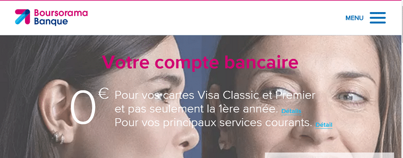 Capture du site de Boursorama banque