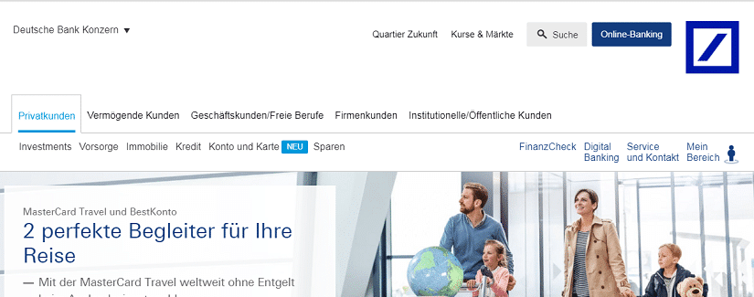 Capture du site de la Deutsche Bank