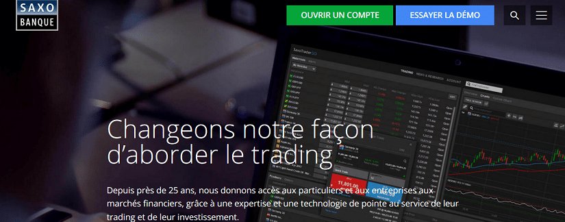 Capture du site de Saxo Bank