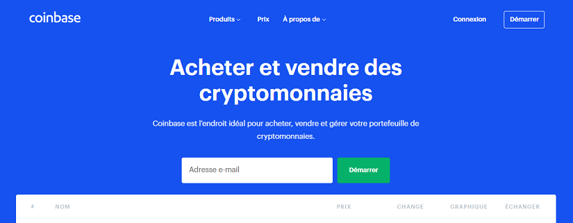 capture ecran du site Coinbase